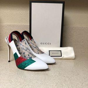 Gucci Calfskin Glitter Slingback Pump White 39 / 9